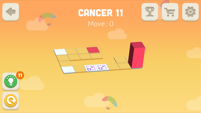 Bloxorz Cancer Level 11 step by step 3 stars Walkthrough, Cheats, Solution for android, iphone, ipad and ipod