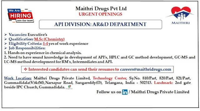 Maithri Labs | Urgent openings in AR&D Dependent at Hyderabad