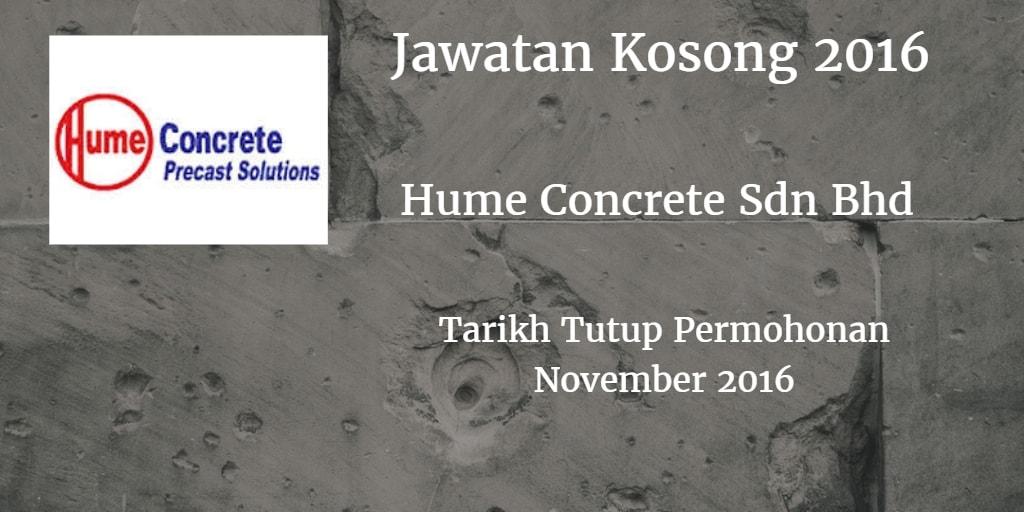 Jawatan Kosong Hume Concrete Sdn Bhd November 2016