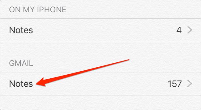 ملاحظات Gmail في Apple Notes