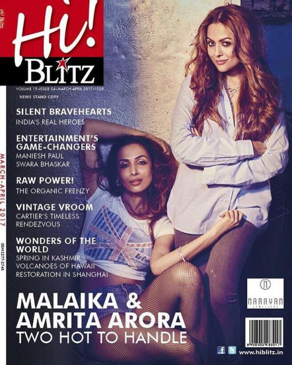 Malaika and Amrita Arora on Cover of Hi! Blitz Magazine India 2017
