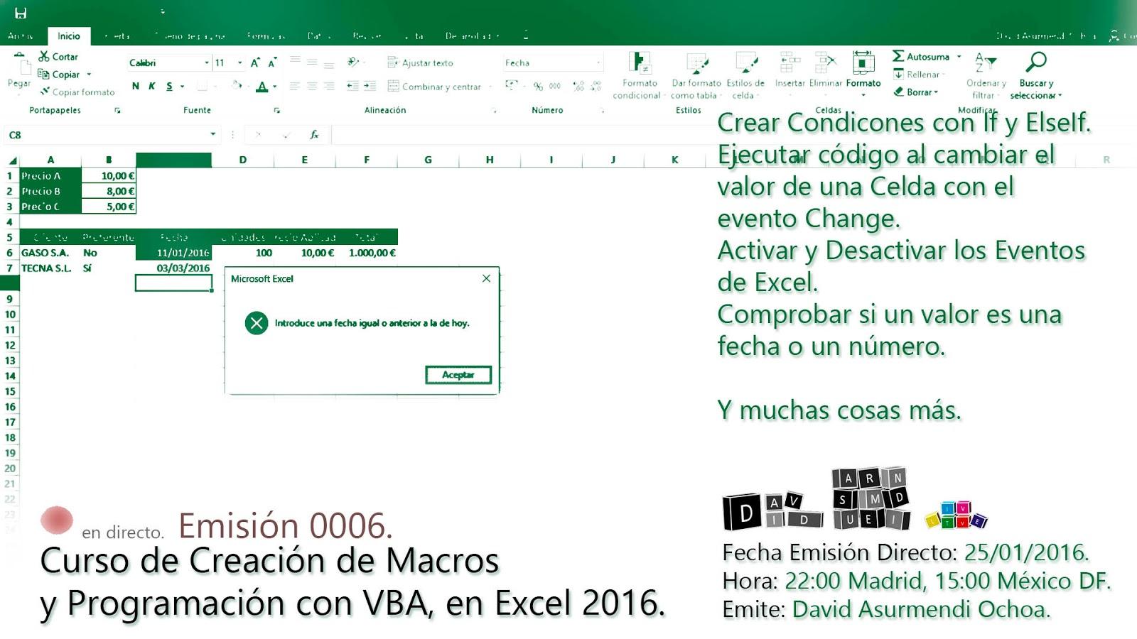 Macros y Programación VBA en Excel 2016.Crear varias ...