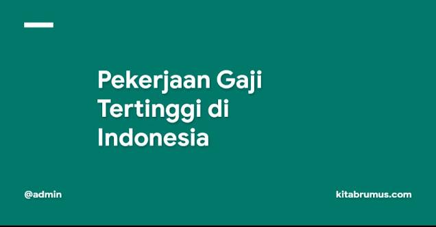 Pekerjaan Gaji Tertinggi di Indonesia