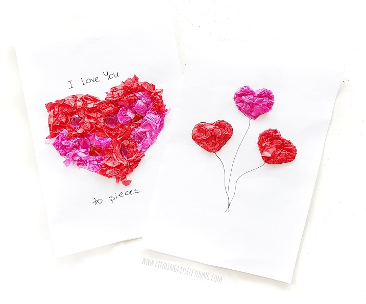 tissue paper heart sticky cards