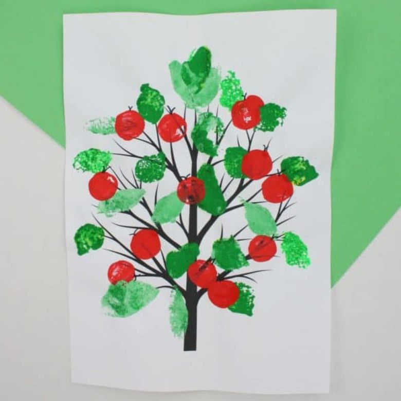 apple tree painting craft with sponges and corks