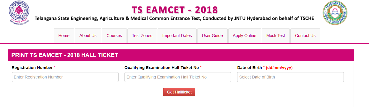 TS EAMCET Exam Hall Tickets Download