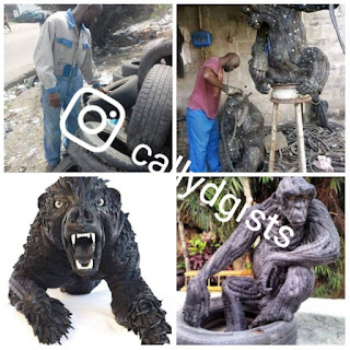 Meet Nigerian Talented Sculptor Who Makes Art With Used/Condemned Tyres – PHOTOS