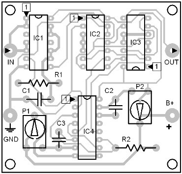 Parts Placement Layout Digital Bandpass Filter
