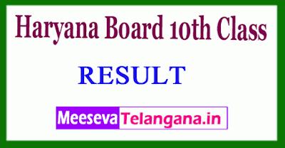 Haryana Board 10th Class Results