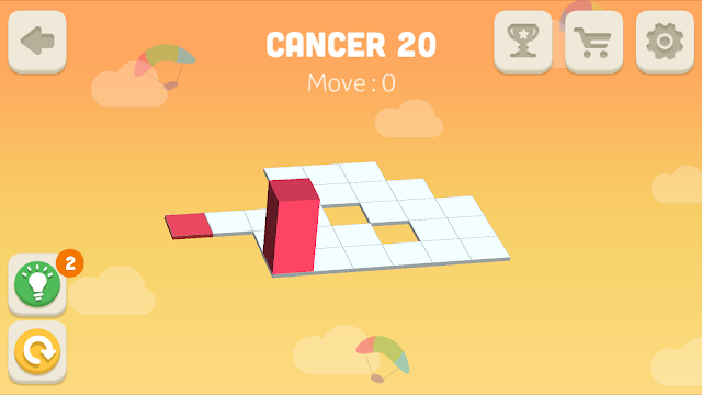 Bloxorz Cancer Level 20 step by step 3 stars Walkthrough, Cheats, Solution for android, iphone, ipad and ipod