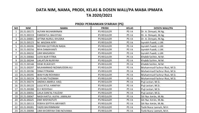 DATA NIM, NAMA, PRODI, KELAS & DOSEN WALI/PA MABA IPMAFA TA 2020/2021