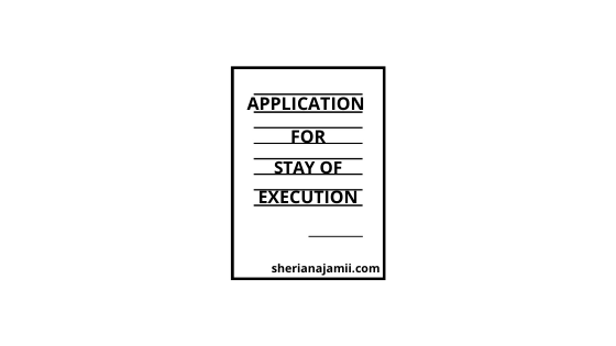 Application for stay of execution Tanzania (sample)
