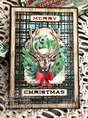Sara Emily Barker https://sarascloset1.blogspot.com/2020/07/christmas-all-ready.html Rustic Christmas Card Tutorial #timholtz #yuletide #wreath&snowflake #lumberjack 1