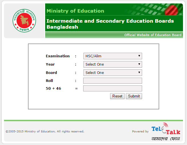 Bangladesh HSC and Alim Exam result 2017
