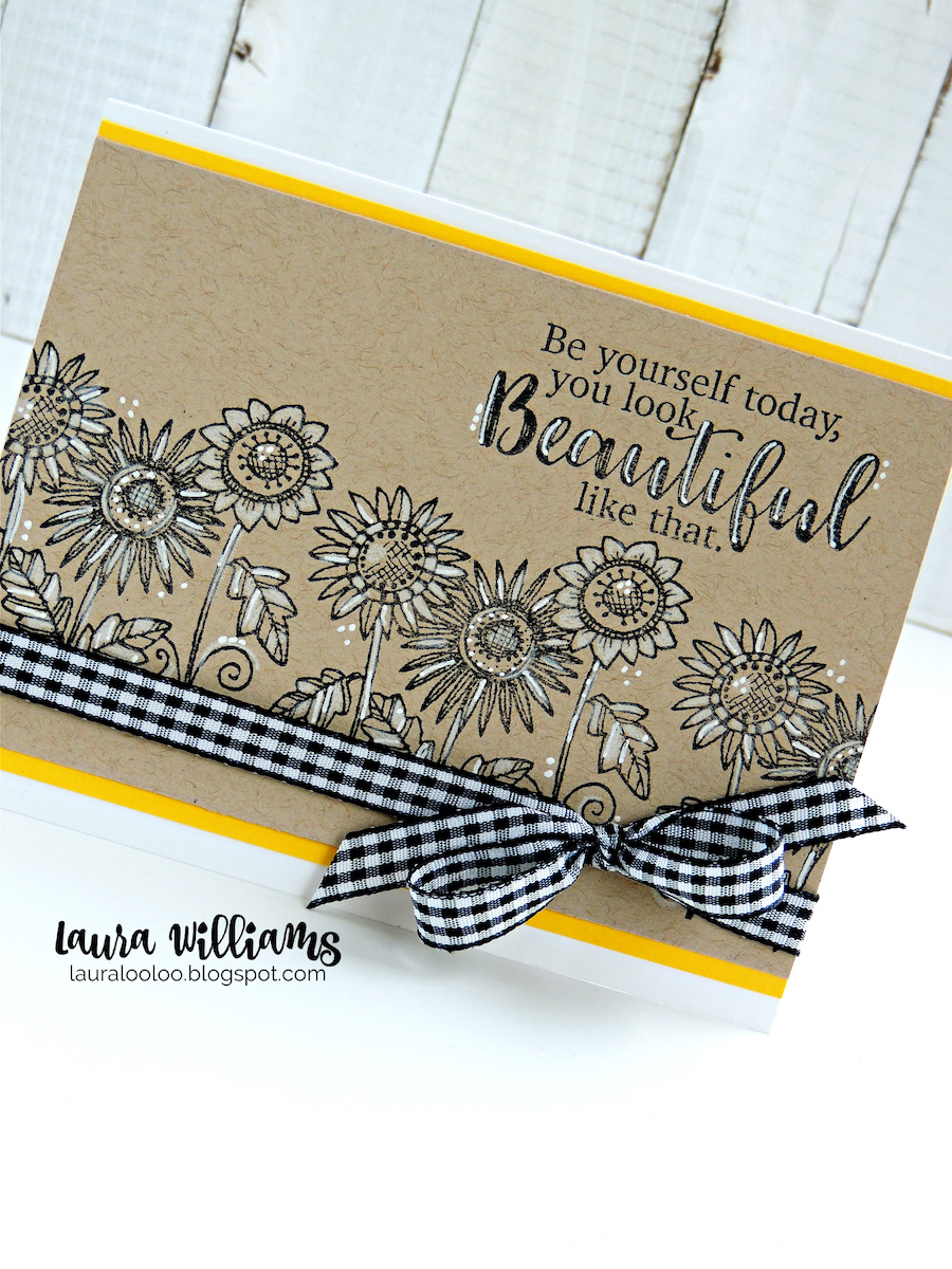 Click to learn how to make a simple handmade floral card with sunflowers. Add simple details with a white pen plus lots of personality thanks to black and white gingham ribbon. Find ideas and inspiration with Impression Obsession stamps on my blog #cardmaking #handmadecards #rubberstamps