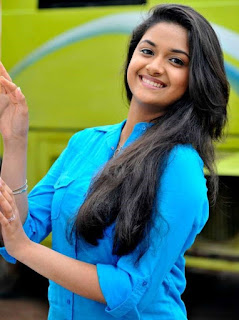 Keerthy Suresh in Blue Dress with Cute and Awesome Lovely Chubby Cheeks Smile