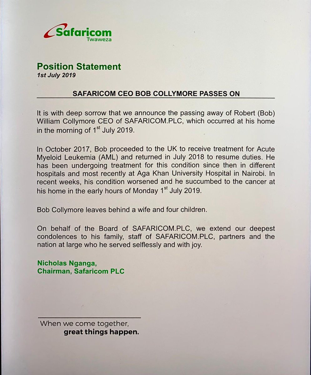 Safaricom CEO Bob Collymore Is Dead