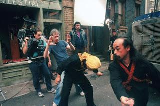 Filmando una de las escenas de peleas de Golpe en la Pequeña China