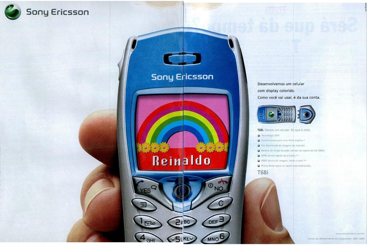 Propaganda veiculada em 2002 da Sony Ericsson com tela colorida
