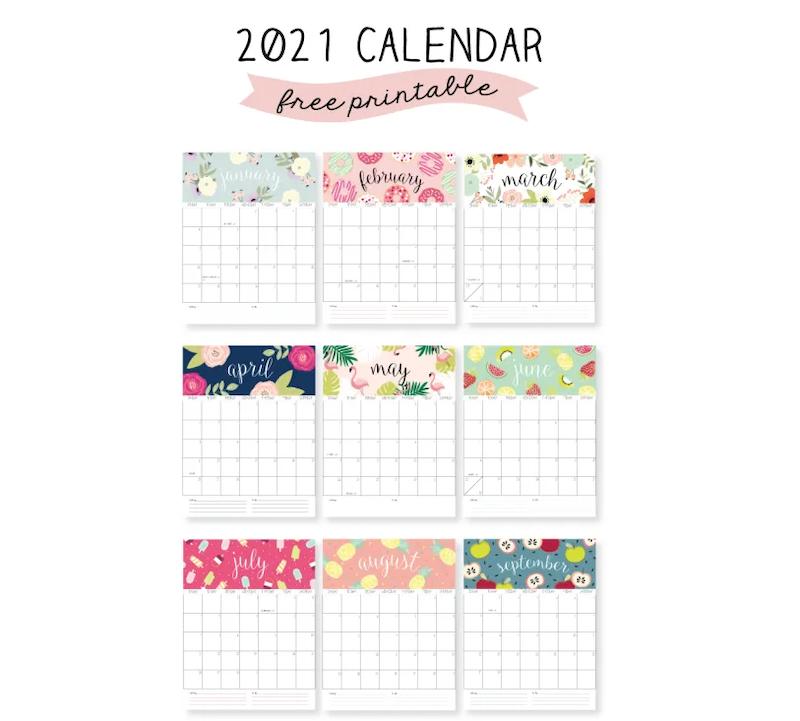Calendario 2021 en inglés para imprimir con diseño personalizado por meses.