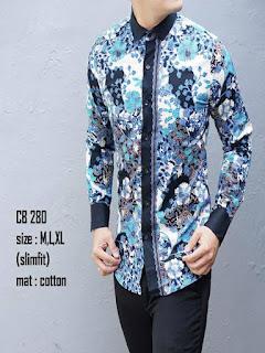 Model Baju Batik Pria Slim Fit