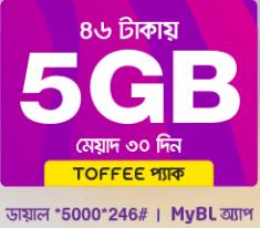 banglalink Toffee 46tk 5GB internet 30Days