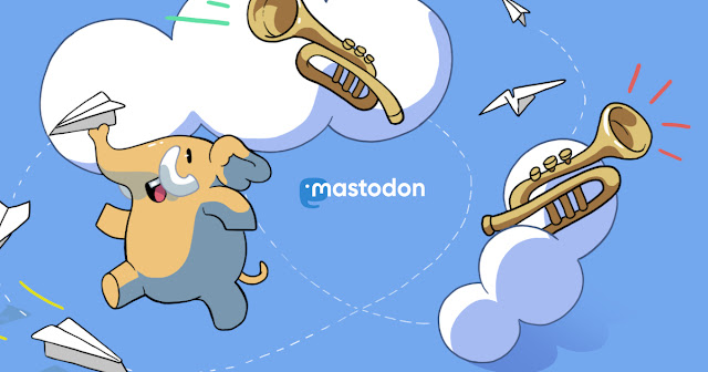 Start screen picture of Mastodon: A Mastodon playing with paper airplanes.