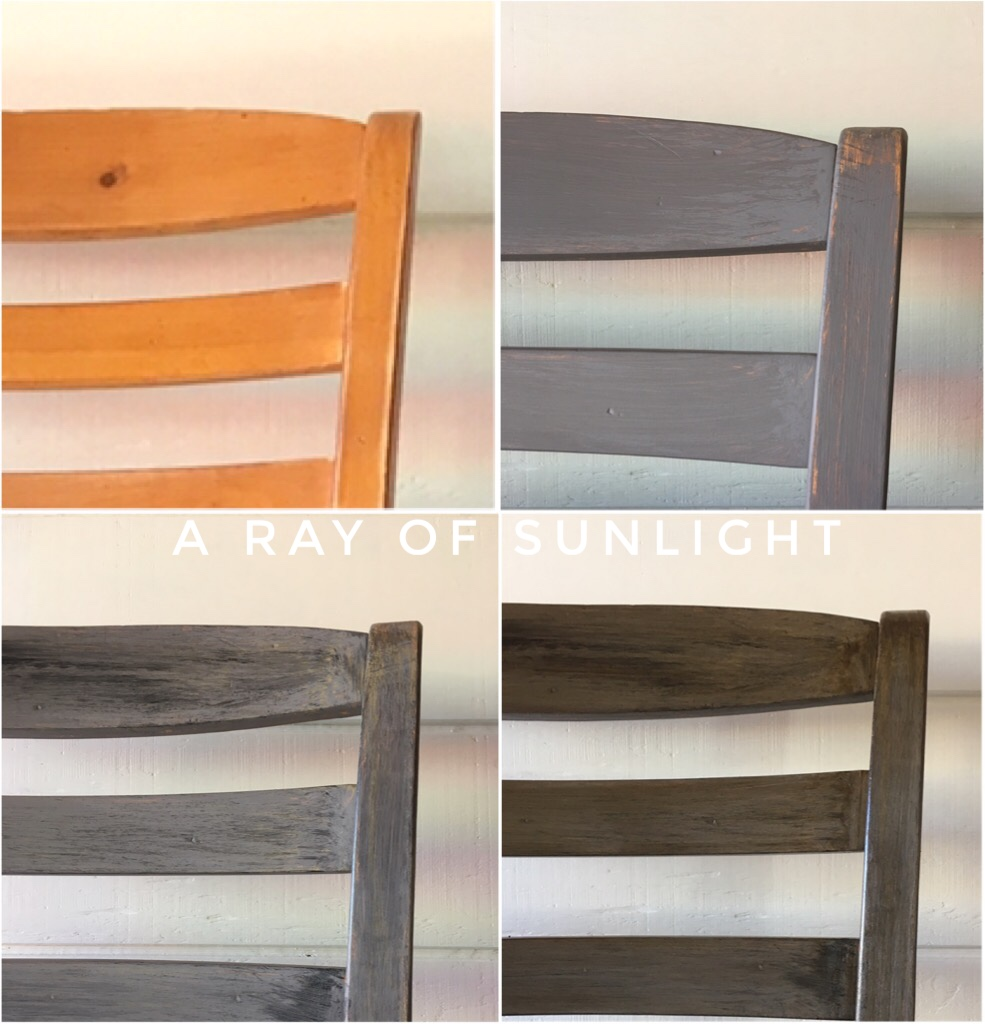 DIY Transform Dining Chairs with Chalk Paint to get a Restoration Hardware Weathered Faux finish by arayofsunlight.com