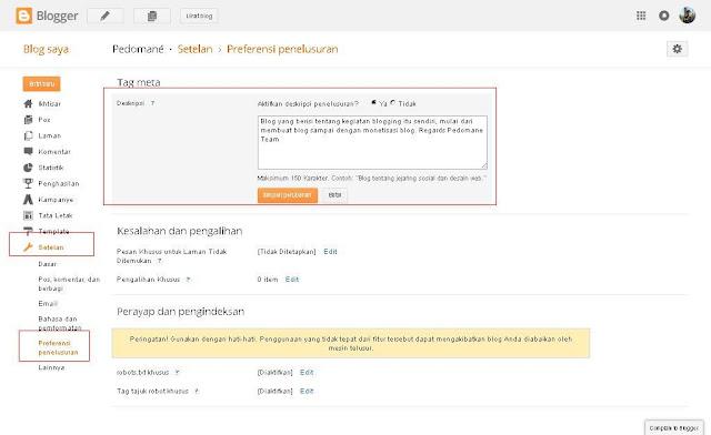 contoh mengatur deskripsi blog yang bagus
