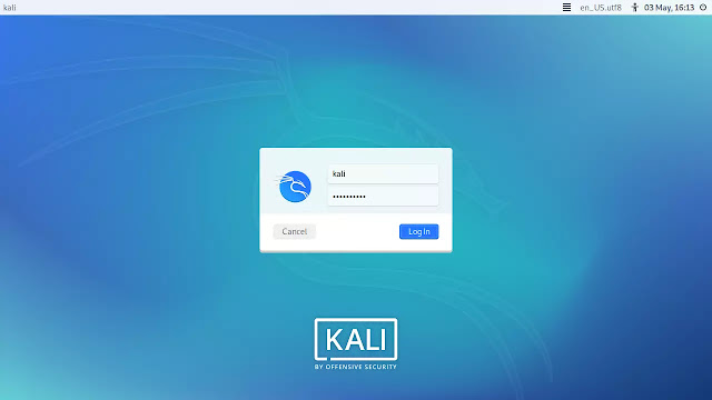 light theme login screen of Kali Linux