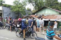 Ban Kiri Becak Lepas, Sepmor Terpental ke Atap Rumah Warga