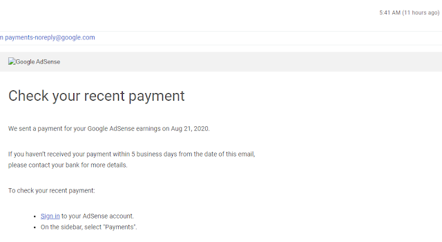 Google Email for Adsense Payment - August 2020