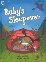 Book jacket cover for Ruby's Sleepover with two girls in tent holding a flashlight under the nighttime sky