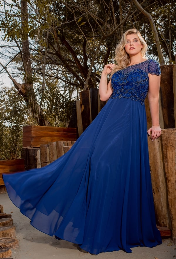 vestido de festa longo azul bic