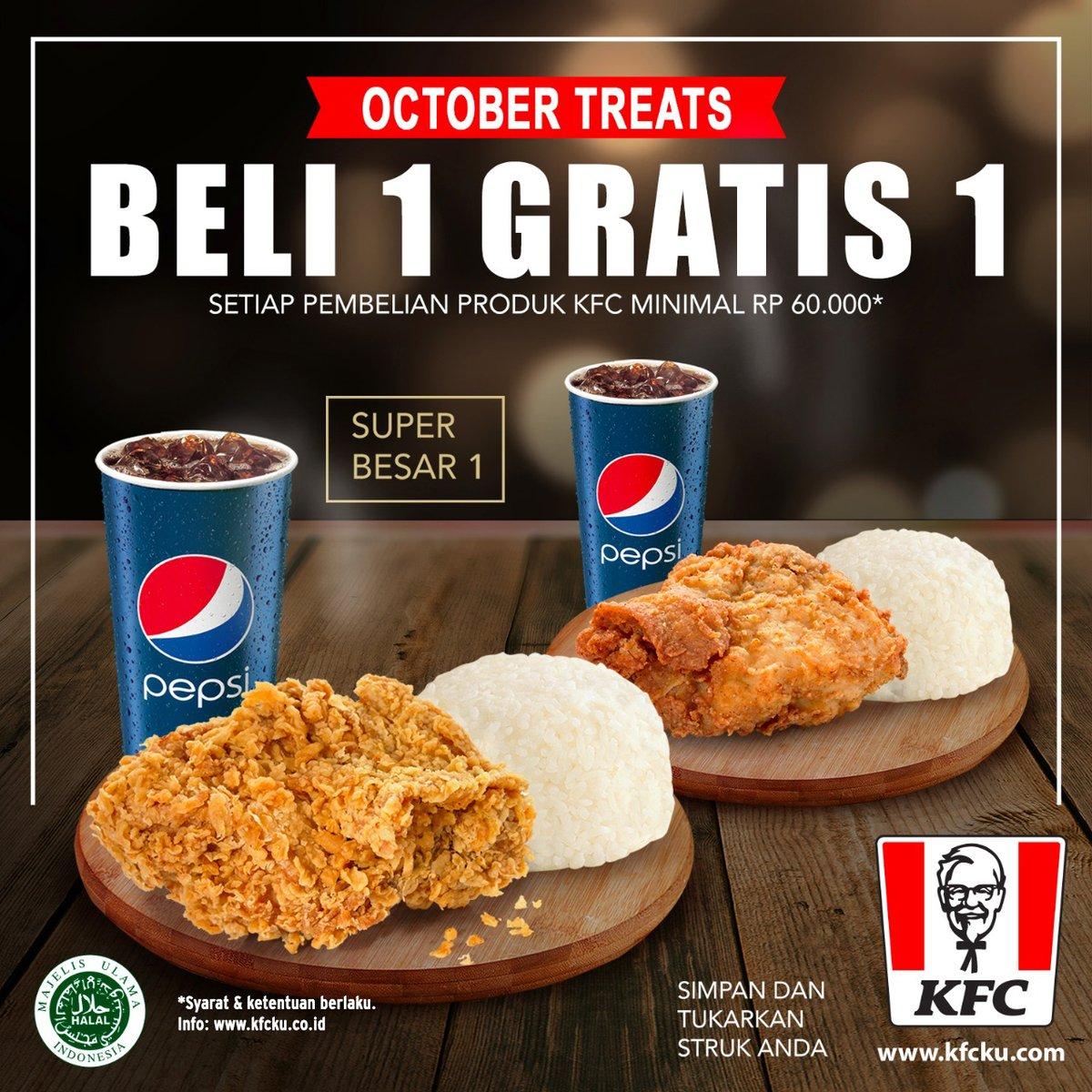KFC - Promo Beli 1 Gratis 1 Belanja min 60 Ribu (s.d 31 Okt 2018)