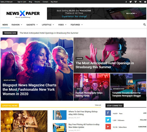 Newspaper X Blogger Template Free Download