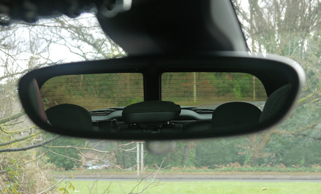 Mini Clubman view through the rear-view mirror