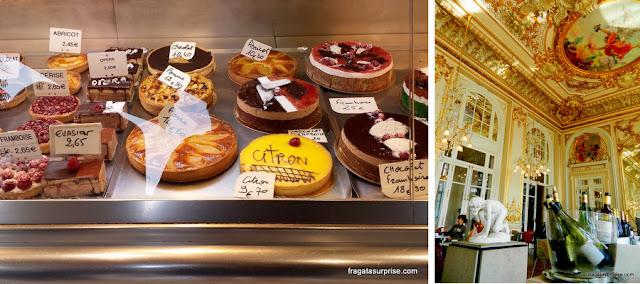 Vitrine de uma confeitaria de Paris e o salão Belle Époque do restaurante do Museu d'Orsay