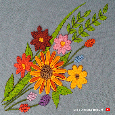 Elite hand embroidery bunch flower, different kind of hand stitches