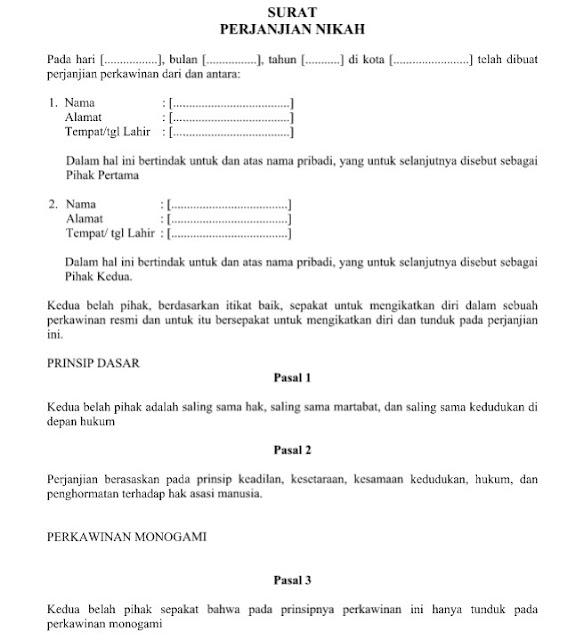 Download Format dan Contoh Surat Perjanjian Nikah File Word