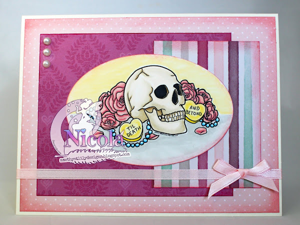 Romantic layered card featuring Skull Candy