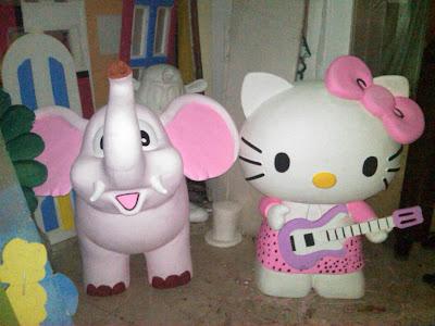 Patung Styrofoam Gajah & Hello Kitty, Harga Patung styrofoam