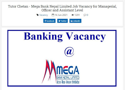 Tutor Chetan - Mega Bank Nepal Limited Job Vacancy for Managerial, Officer and Assistant Level