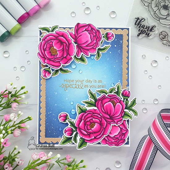 Peony Card by Andrea Shell | Peony Blooms Stamp Set by Newton's Nook Designs