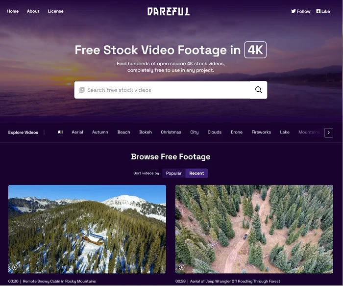 Dareful is the best site for high-quality and free 4K stock videos