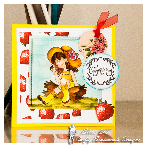 creativEle coloring EATING STRAWBERRY rubber stamp