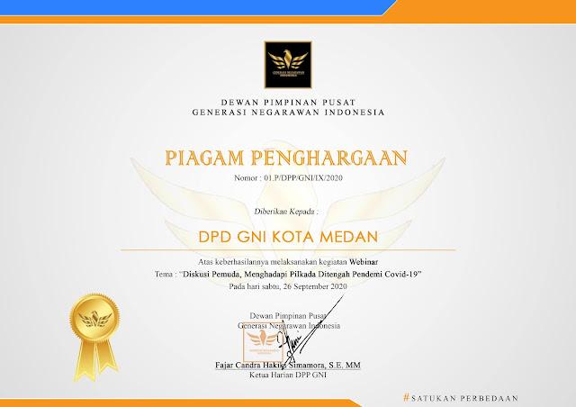Piagam Penghargaan DPD GNI KOTA MEDAN