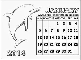 for Children: Black and White Calendar 2014 January