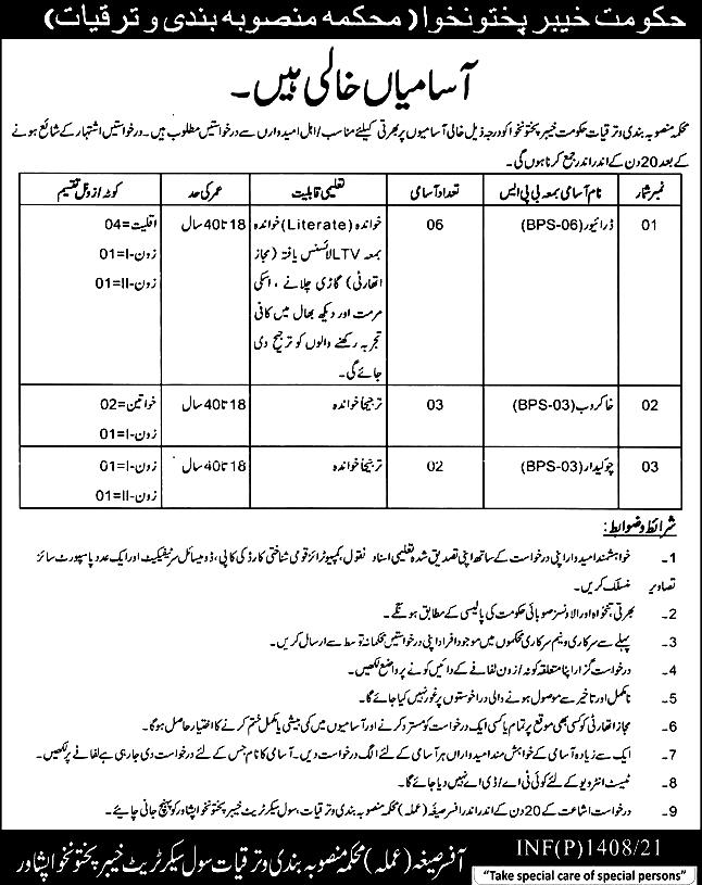 Planning And Development Department Latest Jobs For Driver , Sweeper, & Other 2021