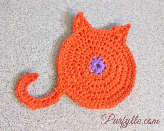 Ginger Puss-cat with feet | Crochet Cat Coaster
